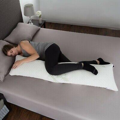 Memory Foam Body Pillow Side Sleepers Aching Legs RLS Zippered Bamboo Cover