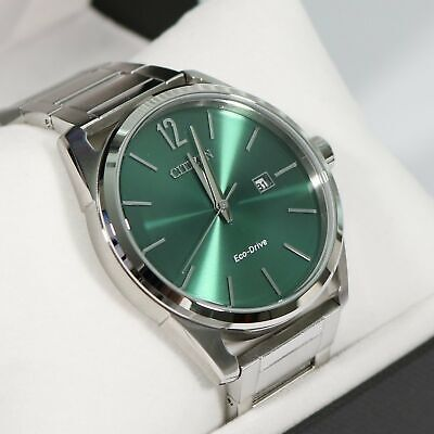 Citizen Eco-Drive Men's Green Dial Stainless Steel Watch BM7410-51X
