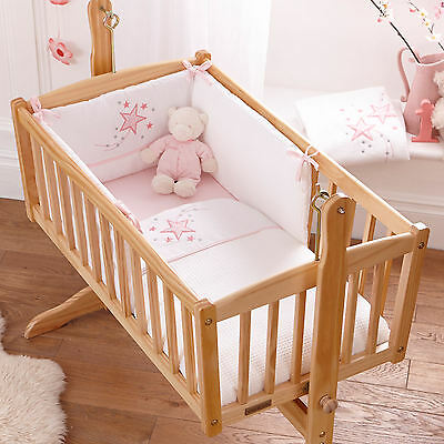 NEW CLAIR DE LUNE PINK STARDUST GIRLS ROCKING CRIB 2 PIECE QUILT & BUMPER SET