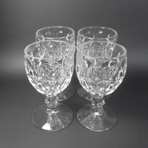 Imperial Glass PROVINCIAL CLEAR Water Goblets 4 Heavy Pressed Honeycomb Goblet