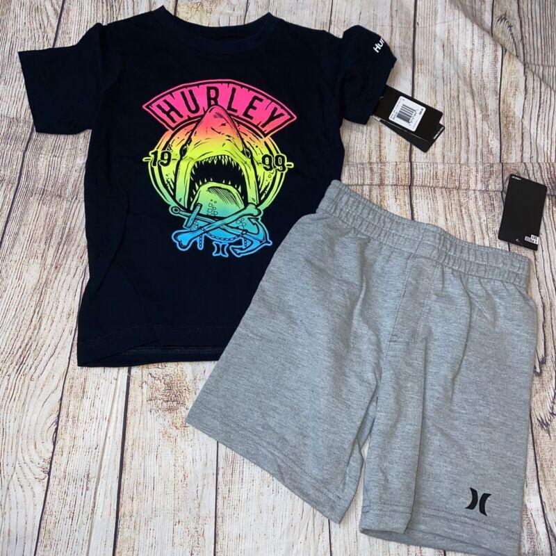 Hurley 4 5 6 7 Shark Shorts Shirt Outfit Summer Set NEW