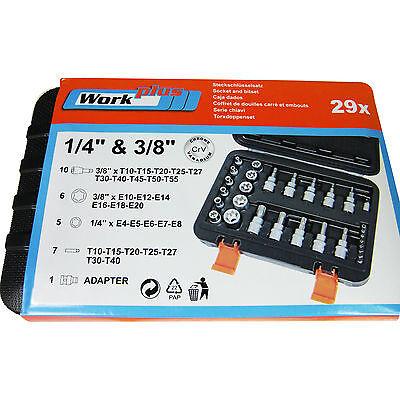 29-tlg Steckschlüssel Satz E Profile Torx Innen Außen Bits Nuss Set Werkzeug