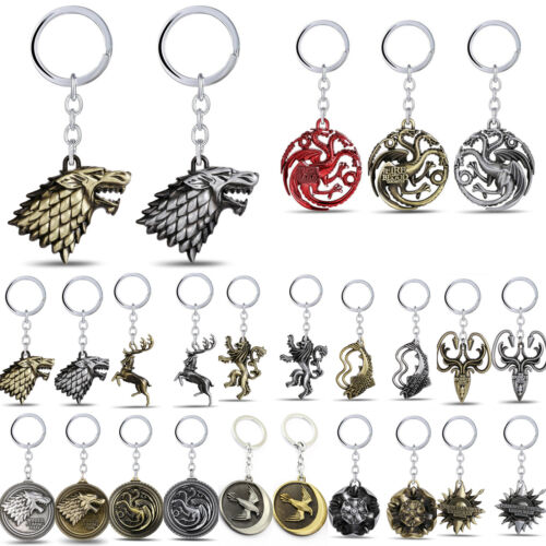 US Game of thrones House Stark Lannister Targaryen Keychains Key Ring Keyfob
