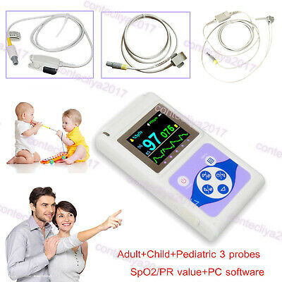 Us Seller Handheld Pulse Oximeter Spo2 Oxygen Heart Rate Monitor3 Probesusb Sw