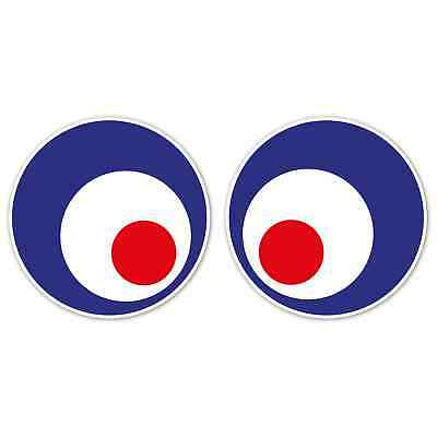 Mod Vespa Eyes x2 120mm Laminated Stickers Scooter Helmet Funny Decals