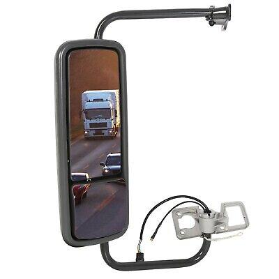 Door Mirror Power Heated Black with Arm LH Fit Freightliner Columbia -