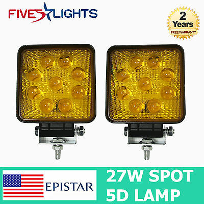 2pcs 27W LED Work Light Bar Amber 5D Offroad Boat Truck Tractor SUV Spot Lamp
