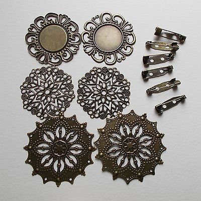 Brooch Kit, 6 filigree pads and 6 backs, Bronze tone, craft room clearout