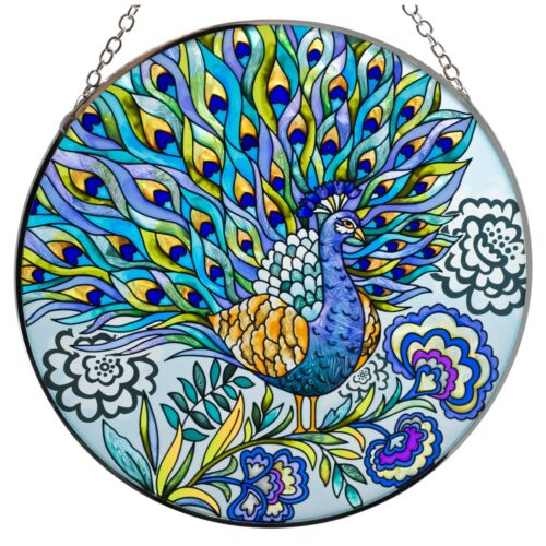 "Peacock Suncatcher Hand Painted Glass By AMIA Studios 6.5"" New!"