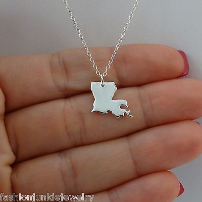 Louisiana State Charm Necklace - 925 Sterling Silver - US State LA Charms NEW