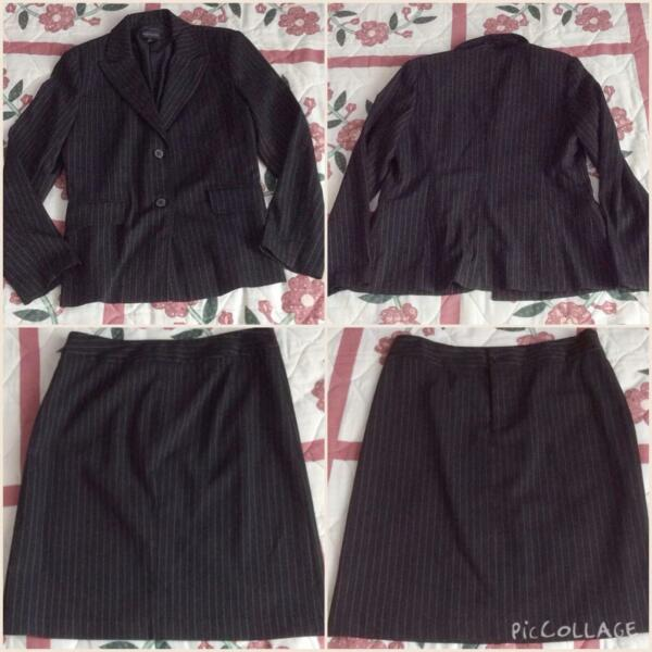 Brand New Agenda Striped Black or Dark Grey Suit Blazer Jacket and Skirt