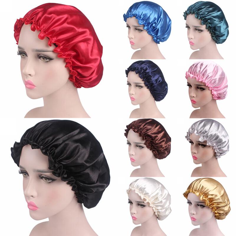 Damen Satin Seide Schlafmütze Schlafhaube Nachtmütze Mütze Bonnet Haarpflege Cap