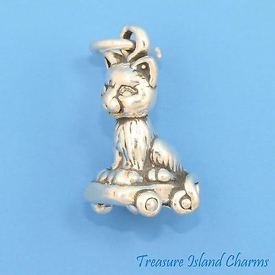 Sterling Silver MANX CAT Kitty Kitten NEW 925 UK 3D Charm Charms