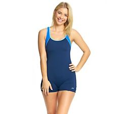 Zoggs Women Torquay Legsuit Navy / Blue in UK Sizes 8-22 Features Thick Straps