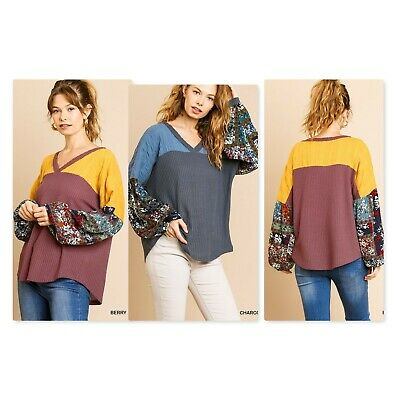 Umgee Floral Mixed Long Puff Sleeve V-Neck Waffle Knit Top 2 Colors -