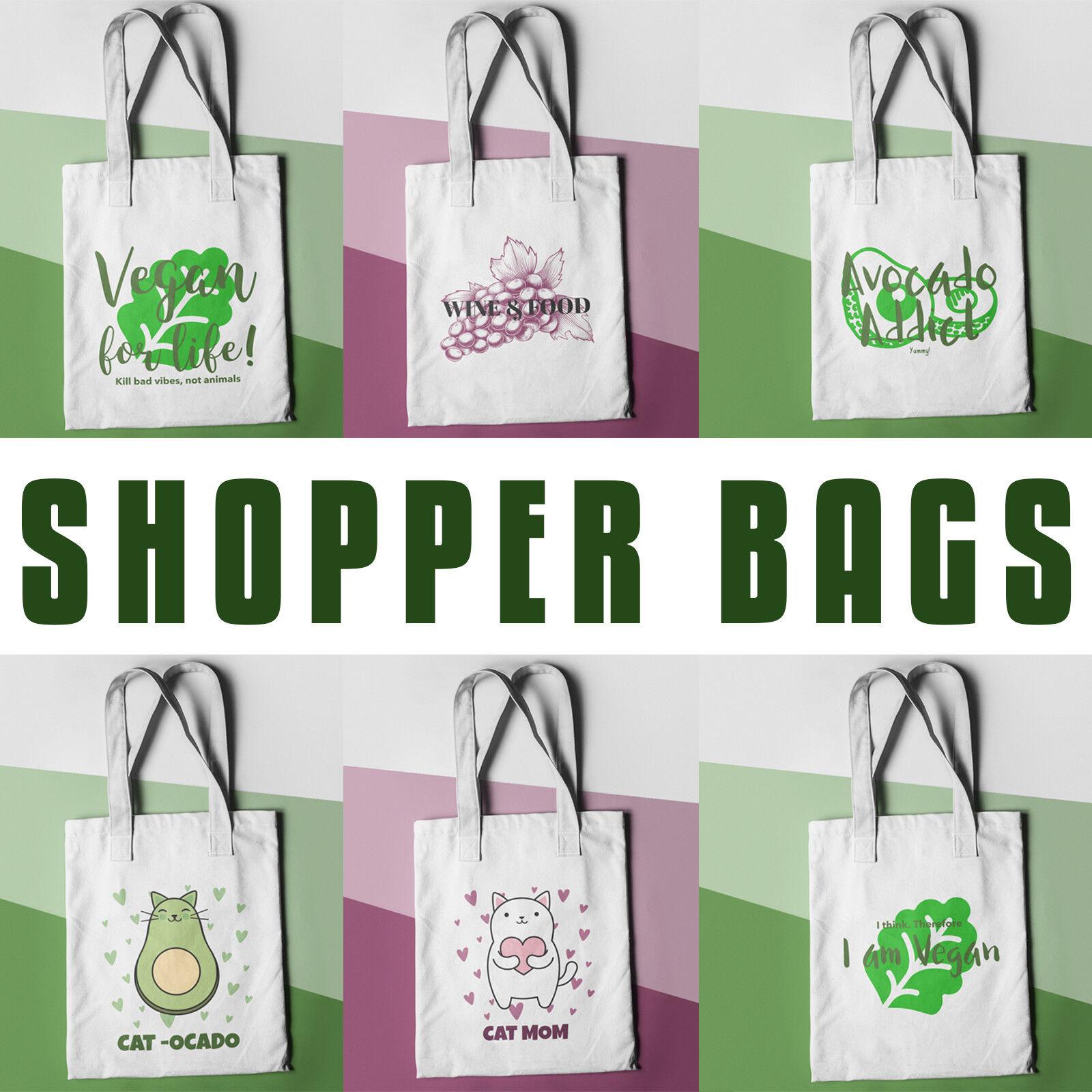 Funny Shopper Bags Cat Vegan Wine Avocado Womens Shopping Ba