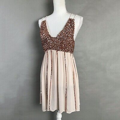 Pink Sequin Dress (Free People Mini Dress Light Pink Sequin Striped Strappy Glitter Girl Size)