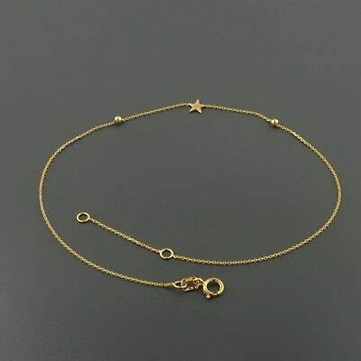 "14K YELLOW GOLD STAR AND MOON 9/10"" ADJUSTABLE ANKLET"