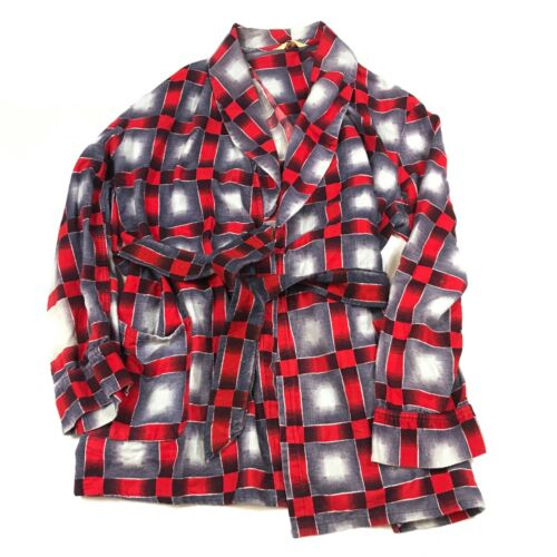 Vintage 1960s Aristorobe Shadow Plaid Robe Men's Large