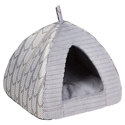 Me & My Pets Small Grey Aztec Igloo Bed Cat/Kitten/Dog Cave Soft Cosy Warm House