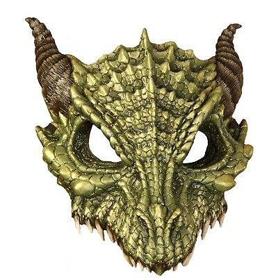 Adult Green Dragon Costume Face Mask Game Of Thrones Smaug Halloween - Green Face Mask Halloween