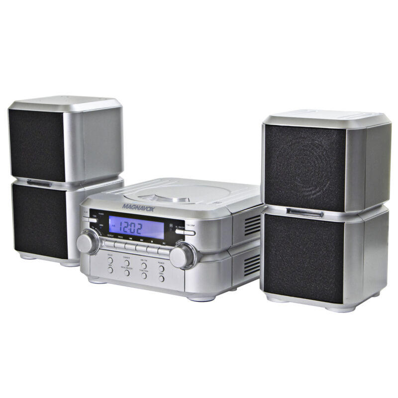 Magnavox MM435-SL Compact CD Shelf System with AM/FM, Bluetooth & Remote, Silver