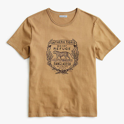Wallace & Barnes J. Crew Vintage Tiger Graphic Tubular T-shirt MADE IN USA NEW L
