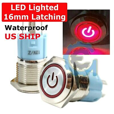 16mm Waterproof Power Push Button Latching Switch W 12v Red Led Head