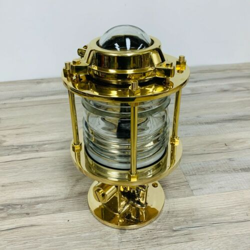 Solid Brass Nautical Pier Post Light With Fresnel Lens - 13.5 Inches Tall