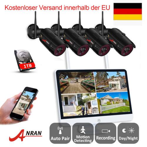 1080P WLANÜberwachungskamera Set 7/15 Zoll Monitor NVR 2MP IP Kamera Außen 1TB