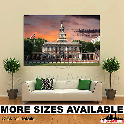 A Wall Art Canvas Picture Print - Independence Hall Philadelphia Sunset 3.2