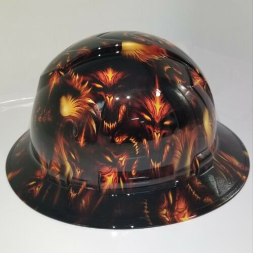 NEW FULL BRIM Hard Hat custom hydro dipped DEMONIC DEMONS FROM HELL NEW SICK 3