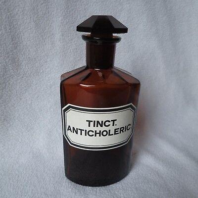 alte Apothekerflasche braun achteckig Tinct. Anticholeric. emailliert 17cm hoch