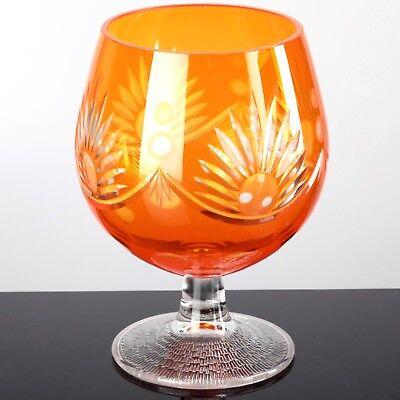 XL Cognacglas orange Dekoglas Cognacschwenker Teelichthalter Schliff 17,5 cm