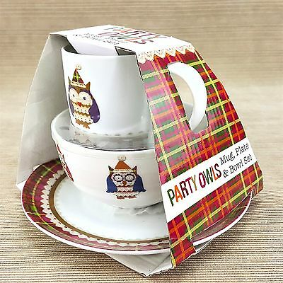 Party Owls Mug/Cup Plate Bowl Ceramic Dinner Set Creativetops Colorful Owl NEW