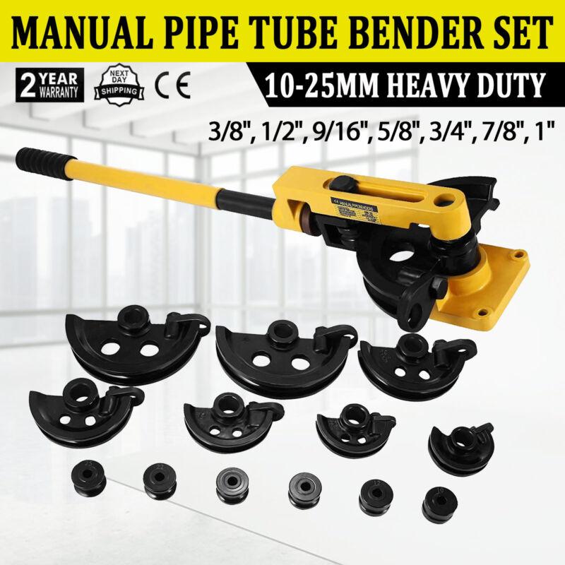 """Manual pipe tube bender set 3/8"""", 1/2"""", 9/16"""", 5/8"""", 3/4"""", 7/8"""", 1"""" W/ Dies US"""