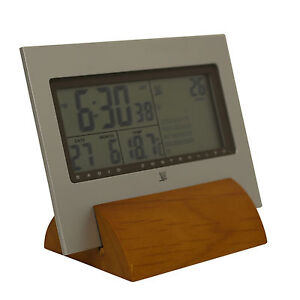 Radio Controlled Desktop Clock Large Display Date Week Temperature Alarm Wooden