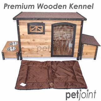 Big Dog Timber House Wooden Kennel Extra Large Pet 2 Bowls Wood