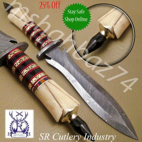 BEAUTIFUL CUSTOM HAND MADE DAMASCUS STEEL HUNTING DAGGER KNIFE HANDLE BONE
