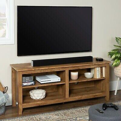 TV Stand Entertainment Center Shelf Cabinet Media Audio 60 inch Natural Finish Espresso 60 Audio