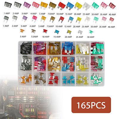 165pcs Atc Mini Low Profile Mini Blade Fuse Auto Car Fuses Assortment Kit