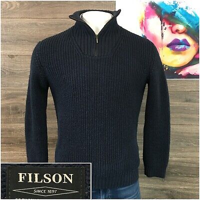 Filson Knit Sweater Ireland Wool Mens Size M 1/4 Zip