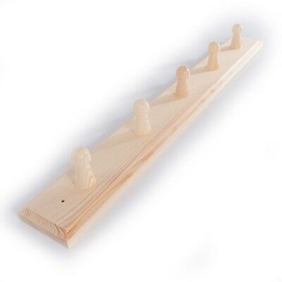 Wall Hanging Coat Rack (5 Pegs Wooden Coat Rack Hooks Holder / Wall Mounted Hanging Crafts Plain Wood)
