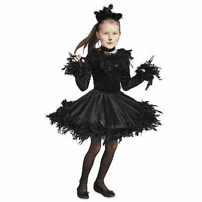 Child Girls Black Cat Halloween Animal Costume Feather Dress Leotard Skirt S 5-6 (Kid Cat Halloween Costume)