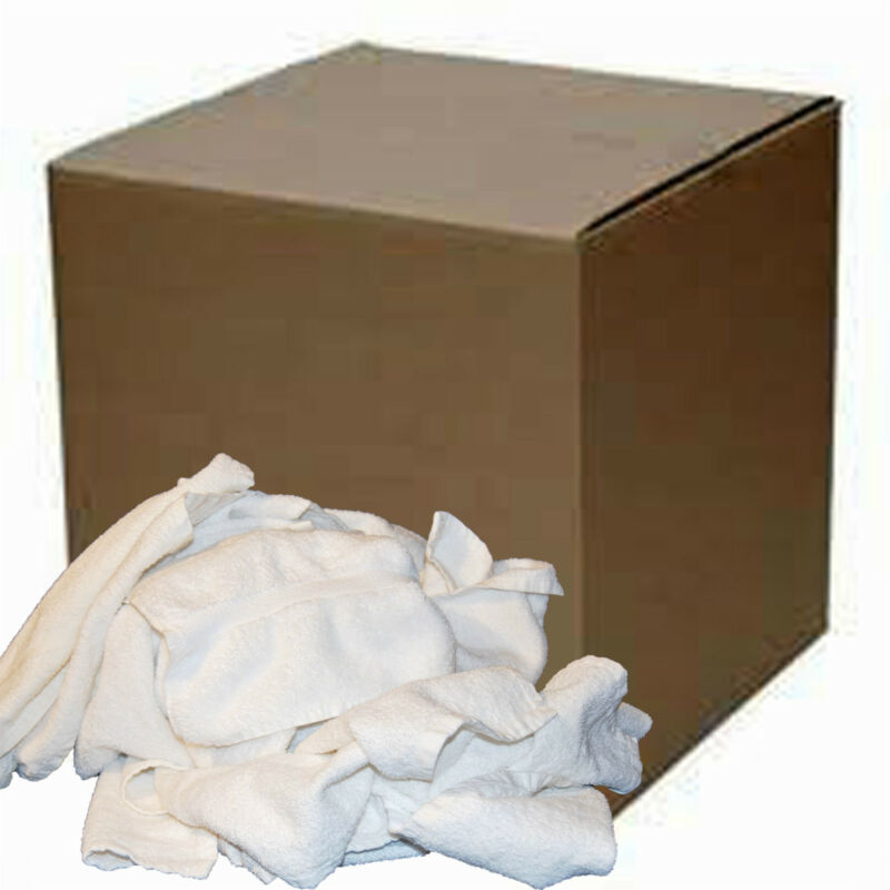 50 Lb. BOX COTTON WHITE TERRY CLOTH CLEANING TOWELS JANITORIAL PLUMBERS RAGS
