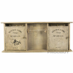 Wall Mounted Vintage General Store Key Storage Cabinet Shabby Chic Box Memo Clip