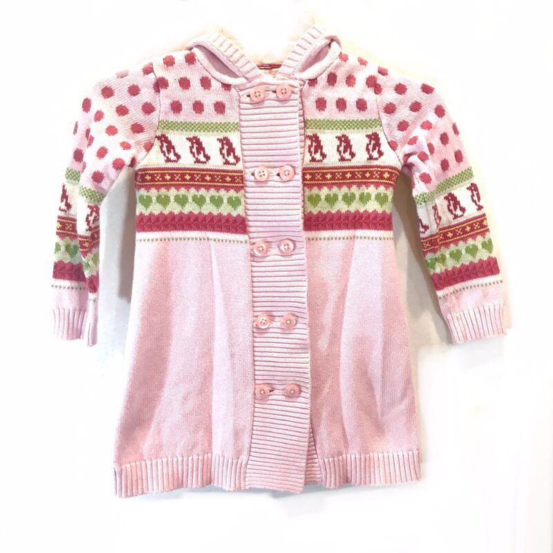 Janie And Jack Girls Winter Penguin Long Knitted Sweater Hoodie Pink 4T