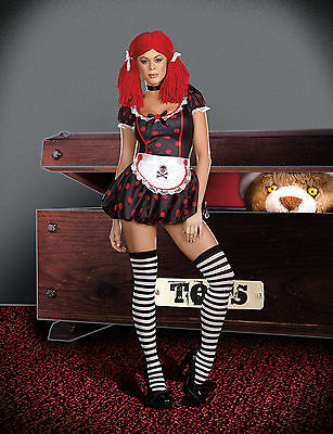 Sexy Adult Halloween Gothic Rockin' Ragdoll Costume w Wig