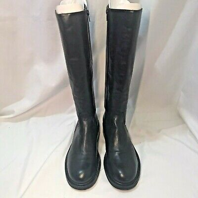 J CREW Women's Riding Motorcycle Boots Black Leather Size 8 56555 Italy $298 EUC