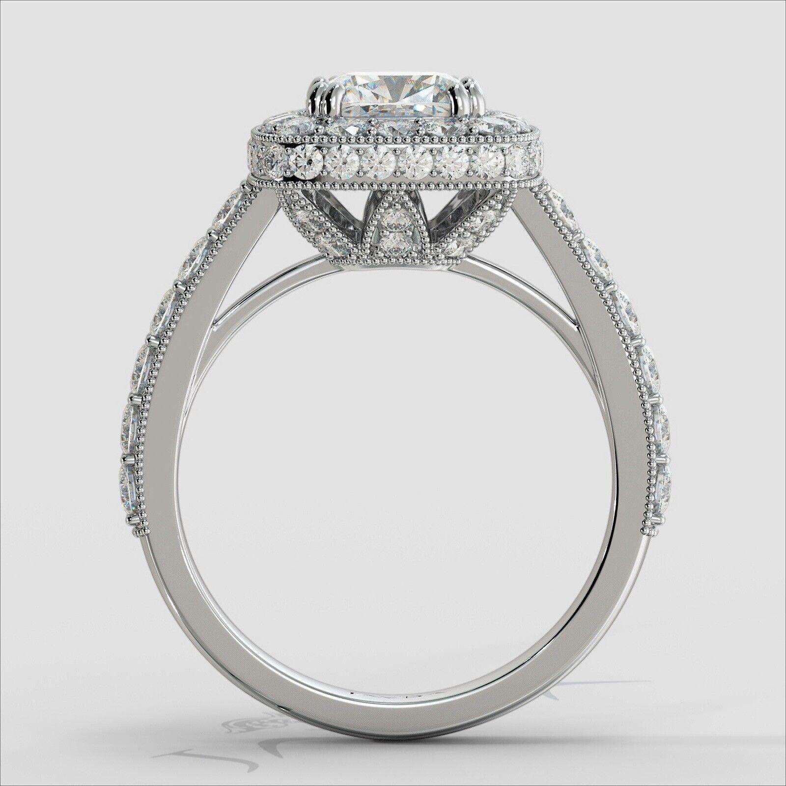 2ctw Milgrain Halo Floral Basket Cushion Diamond Engagement Ring GIA H-VS2 Gold 3